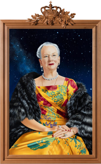 QUEEN MARGRETHE. 2020. Oil on board. 102 x 68 cm. The Museum of National History. Frederiksborg Castle.